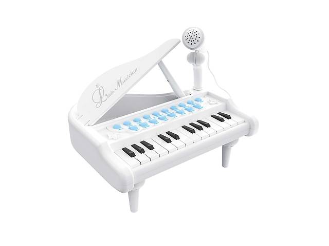 купить бу Детское пианино синтезатор Baoli с микрофоном 24 клавиши белое SKL17-223458 в Харькове