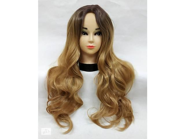 Парик омбре блонд с пробором центральным имитация кожи волнистый