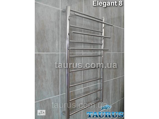 бу Узкий нержавеющий полотенцесушитель с полочками Elegant 8 / 850х400 в ванную комнату; в Смілі