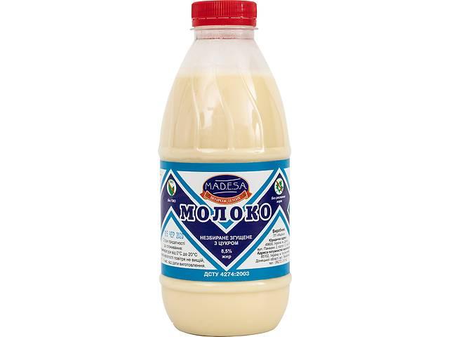 Молоко цельное сгущенное с сахаром, пэт-бутылка 1000 гр, экспорт