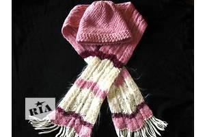 Шапка и шарфик розовые 100% шерсть