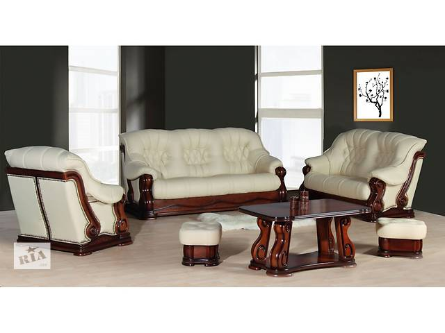 Шкіряний комплект Luxur на дубі,кожаный комплект на дереве, кожаный диван- объявление о продаже  в Дрогобыче