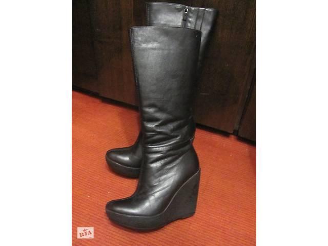 Женские зимние кожаные сапоги на танкетке - Жіноче взуття в Харкові ... 8b3e7b40a9197
