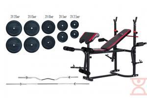 Лава для жиму Hop-Sport + Штанга 115 кг + EZ-гриф