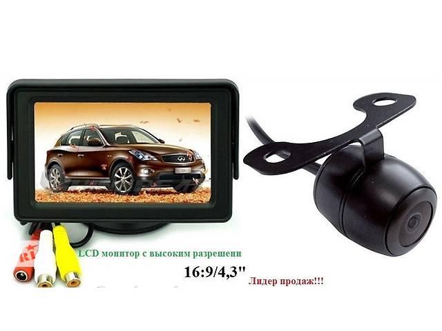 купить бу Цветной Монитор 4,3дюйма, 2 видеовхода + камера заднего вида в Киеве
