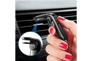 Магнитный Чёрный держатель для телефона в авто на решетку воздуховода