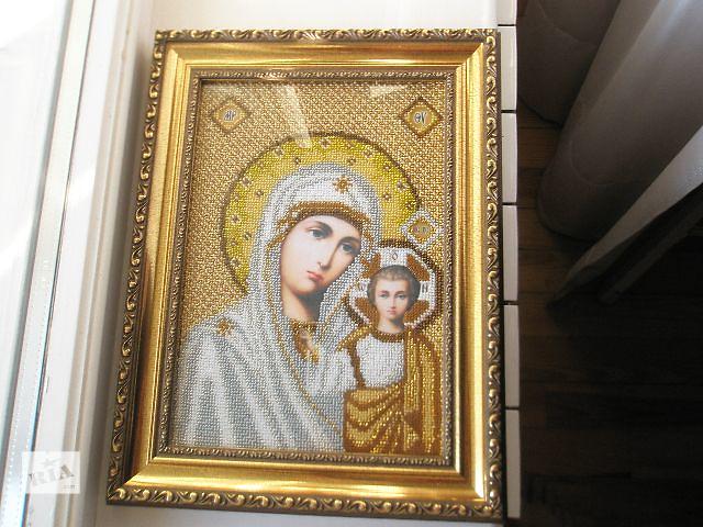 """продам икона вышитая чешским бисером """"Божья Мать"""" бу в Кременчуге"""