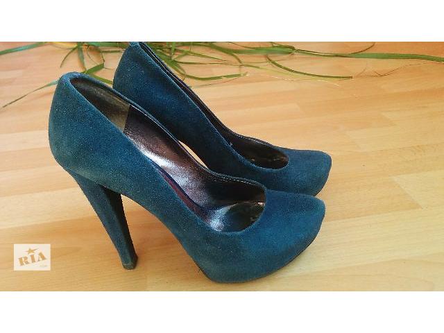 Замшевые синие туфли на каблуке Basconi 38/39- объявление о продаже  в Киеве