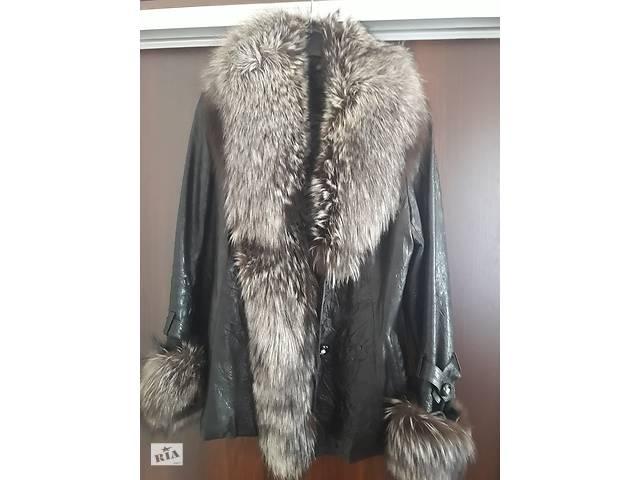 бу Зимняя кожаная курточка с мехом чернобурки в Смеле