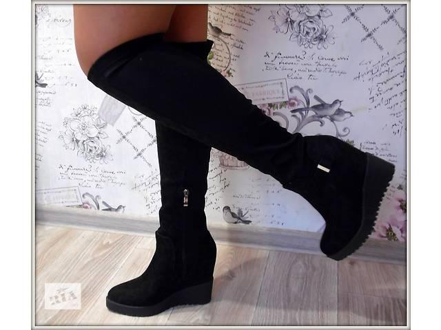 Женские сапоги черный, платформа, демисезон- объявление о продаже  в Макарове