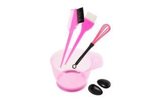 Набор инструментов Supretto для окрашивания волос - миска, кисти с расческой, венчик (5922)