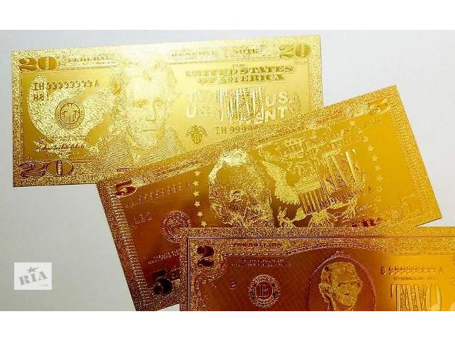 купить бу Золота щаслива банкнота 10$ 50$,100$ США - золото 999 в Шостці
