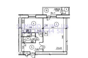 Продается 1-комнатная квартира 48.06 кв. м в Сумах