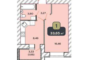 Продається 1-кімнатна квартира 33.65 кв. м у Хмельницькому