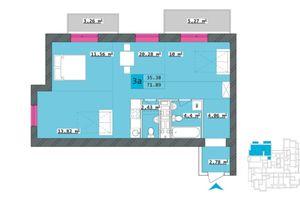 Продается 3-комнатная квартира 71.89 кв. м в Харькове
