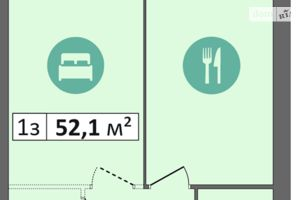 Продається 1-кімнатна квартира 52.1 кв. м у Дніпрі