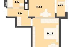 Продается 1-комнатная квартира 41.21 кв. м в Житомире