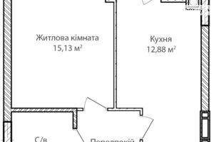 Продается 1-комнатная квартира 37.36 кв. м в Ирпене