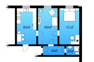 Продається 2-кімнатна квартира 58 кв. м у Іллінцях