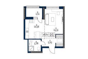 Продается 1-комнатная квартира 36.19 кв. м в Киеве