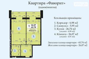 Продается 1-комнатная квартира 65.74 кв. м в Полтаве