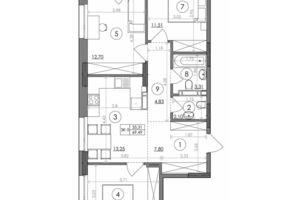 Продается 3-комнатная квартира 69.49 кв. м в Киеве