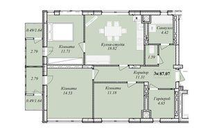 Продается 3-комнатная квартира 87.07 кв. м в Тернополе