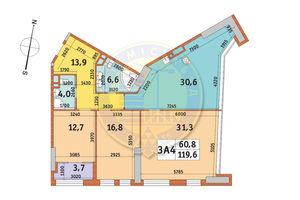 Продается 3-комнатная квартира 119.6 кв. м в Киеве