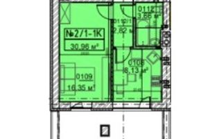 Продается 1-комнатная квартира 30.96 кв. м в Ирпене
