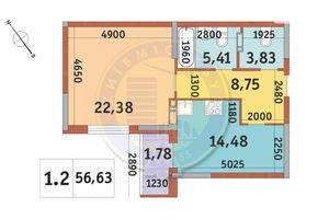 Продается 1-комнатная квартира 56.63 кв. м в Киеве